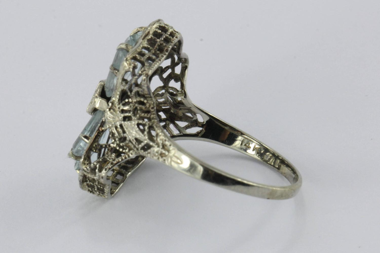 1920 Ring Circa Deco Art Aquamarine