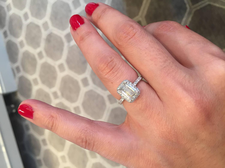 Emerald Cut Diamond Platinum Micro Pave Halo Engagement