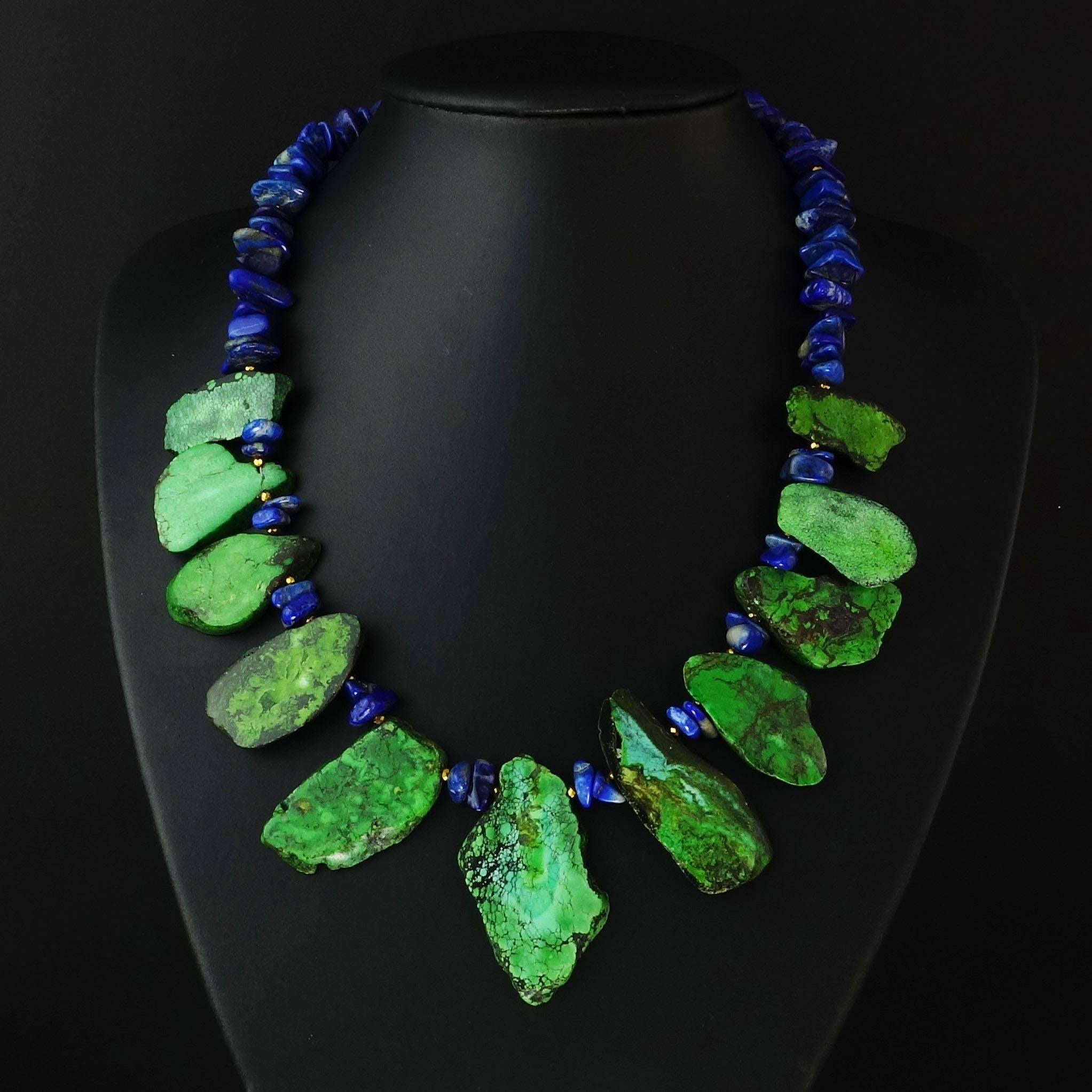 Blue Lapis Lazuli And Green Turquoise Necklace At 1stdibs