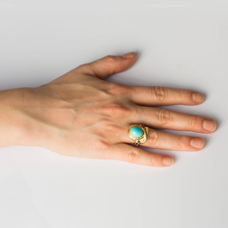 Rene Boivin Paris Turquoise Cabochon Sapphire Gold Ring