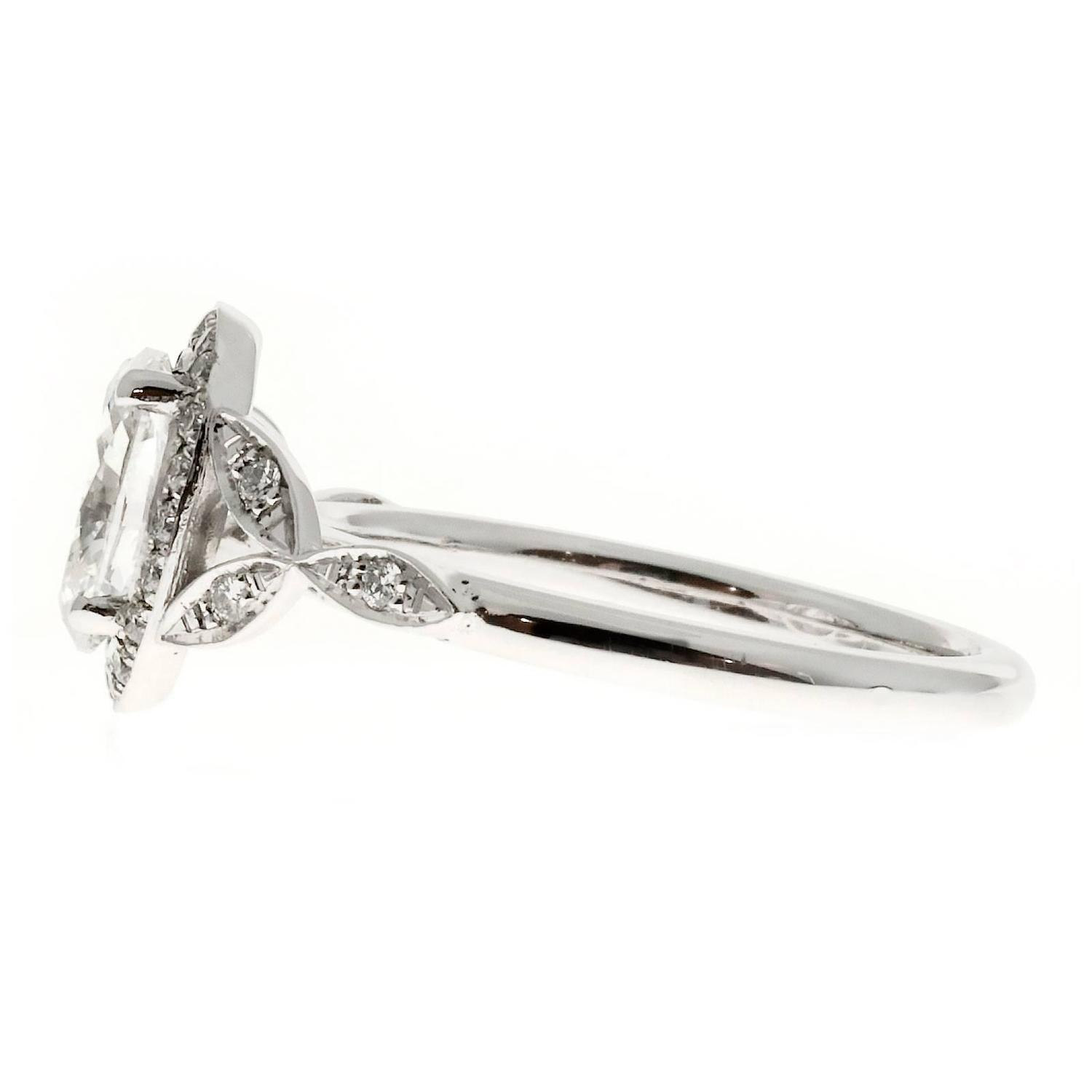 Peter Suchy Oval Diamond Halo Platinum Engagement Ring For