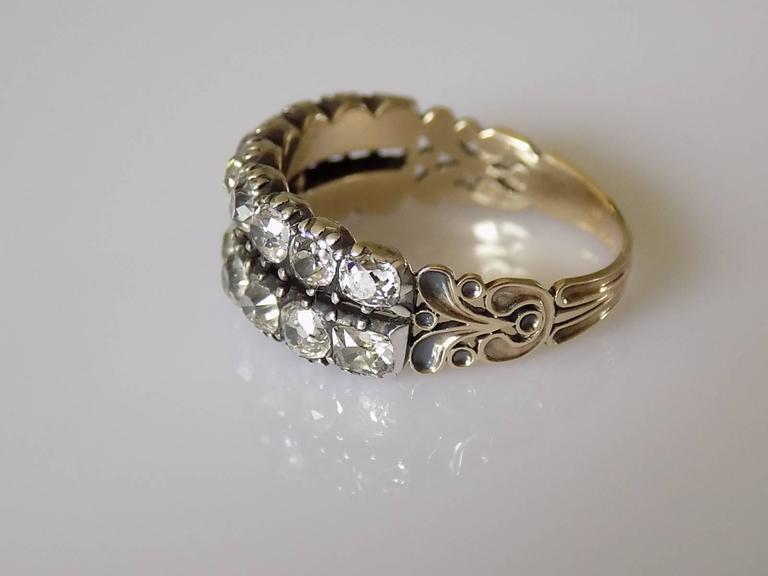 Georgian Two Row Diamond Half Eternity Ring At 1stdibs