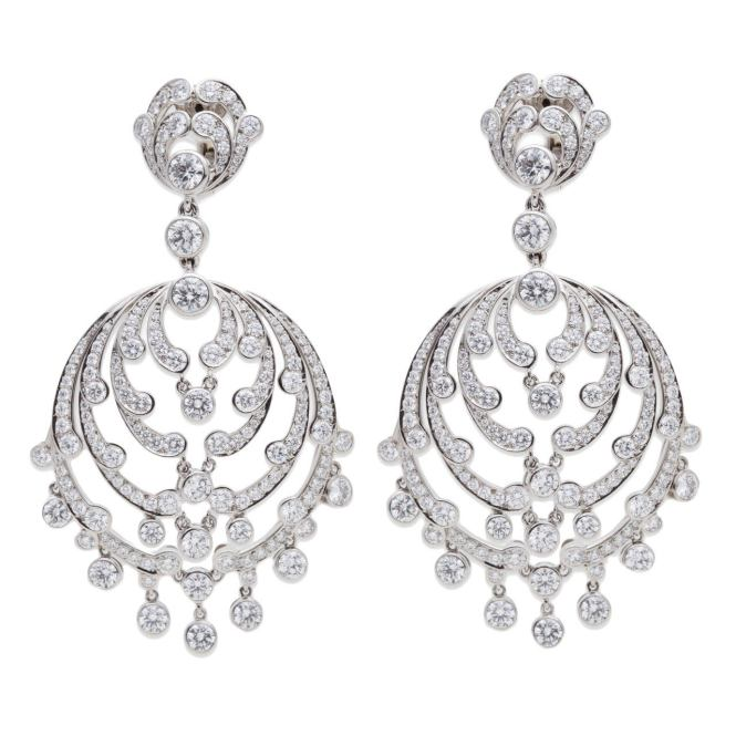 Cartier Diamond Platinum Chandelier Earrings 1