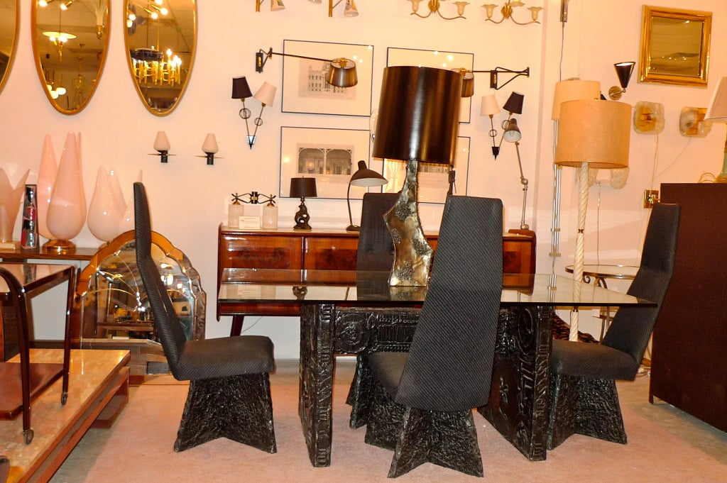 Brutalist Dining Table And Chairs By Adrian Pearsall At