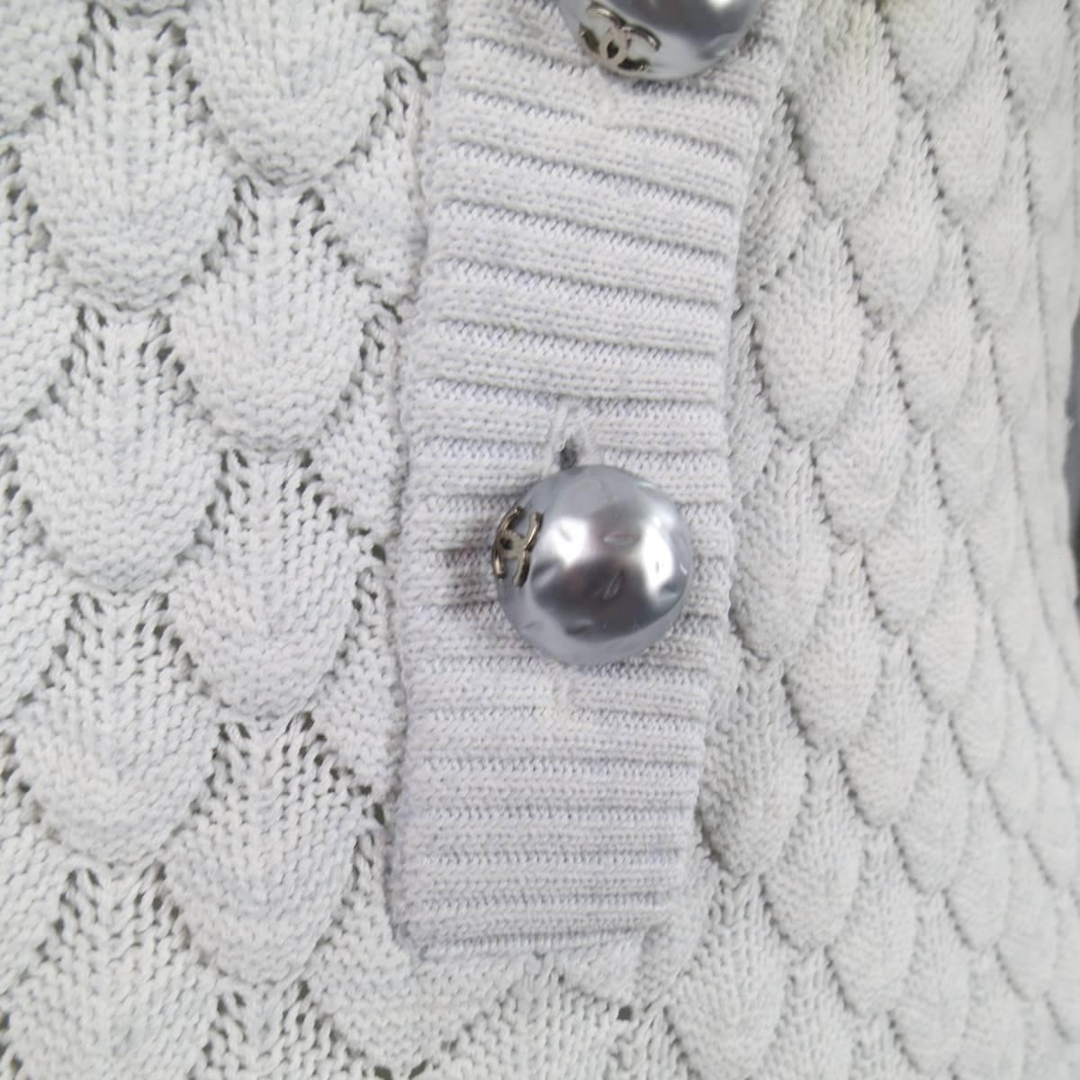 Chanel Spring Size 2 Ice Blue Textured Knit Cross