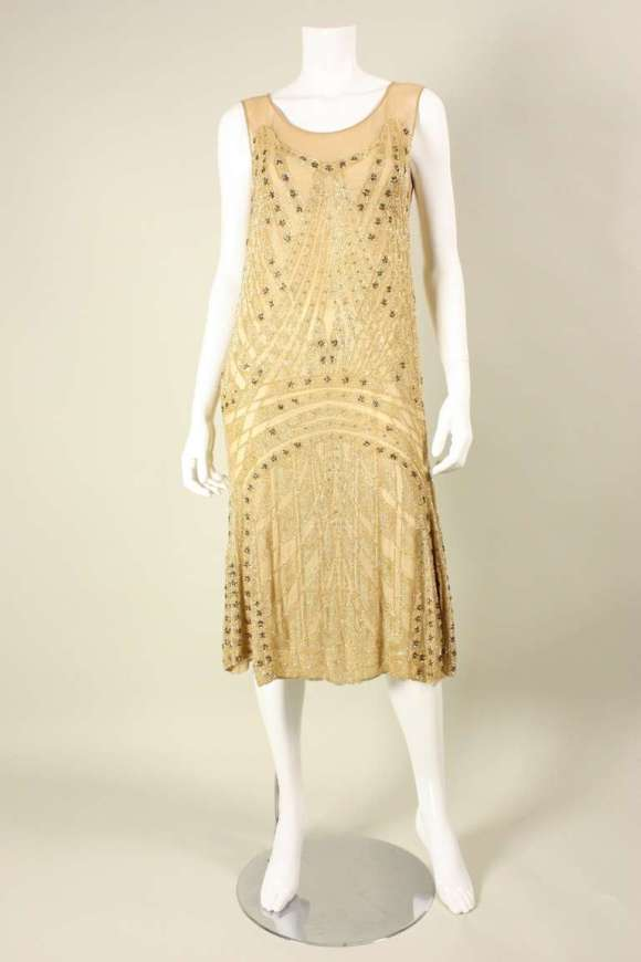 1920's Beaded Silk Flapper Dress For Sale at 1stdibs