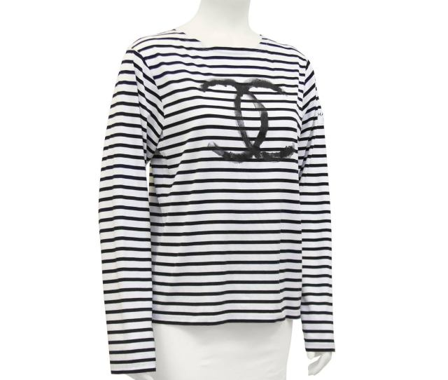 Limited Edition White With Black Horizontal Stripes Cotton Long Sleeve Shirt From The Chanel  Christmas