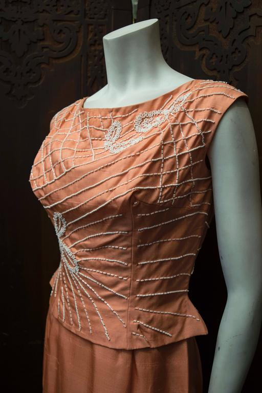 1950s Salmon Pink Beaded Cocktail Dress For Sale At 1stdibs