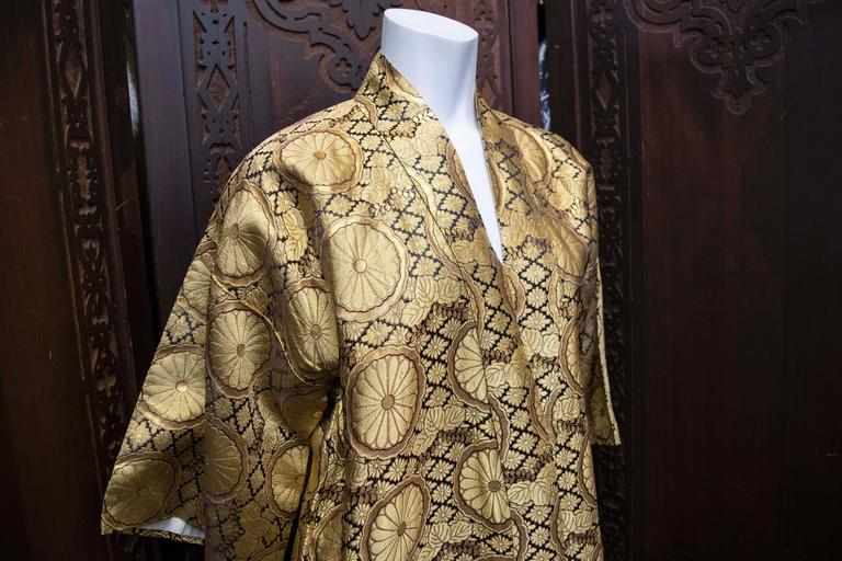 1960s Gold Kimono House Coat At 1stdibs
