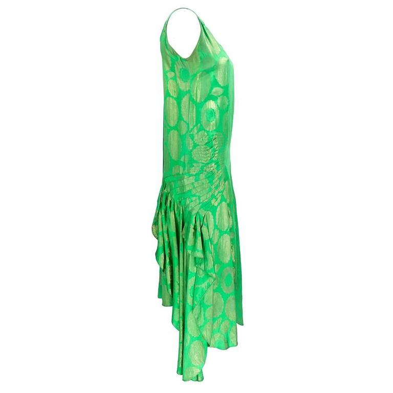 1920s Emerald Green Floral Lam Party Dress With Cascading