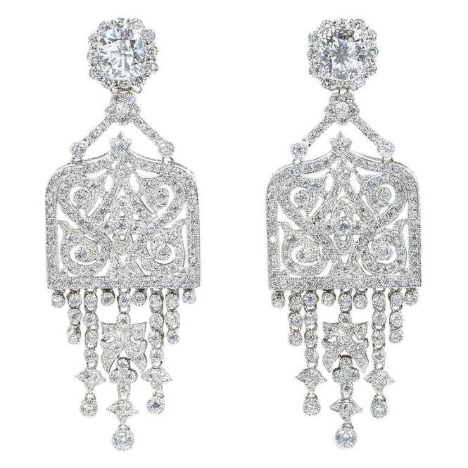 Amazing Art Deco Style Faux Diamond Chandelier Earrings 1