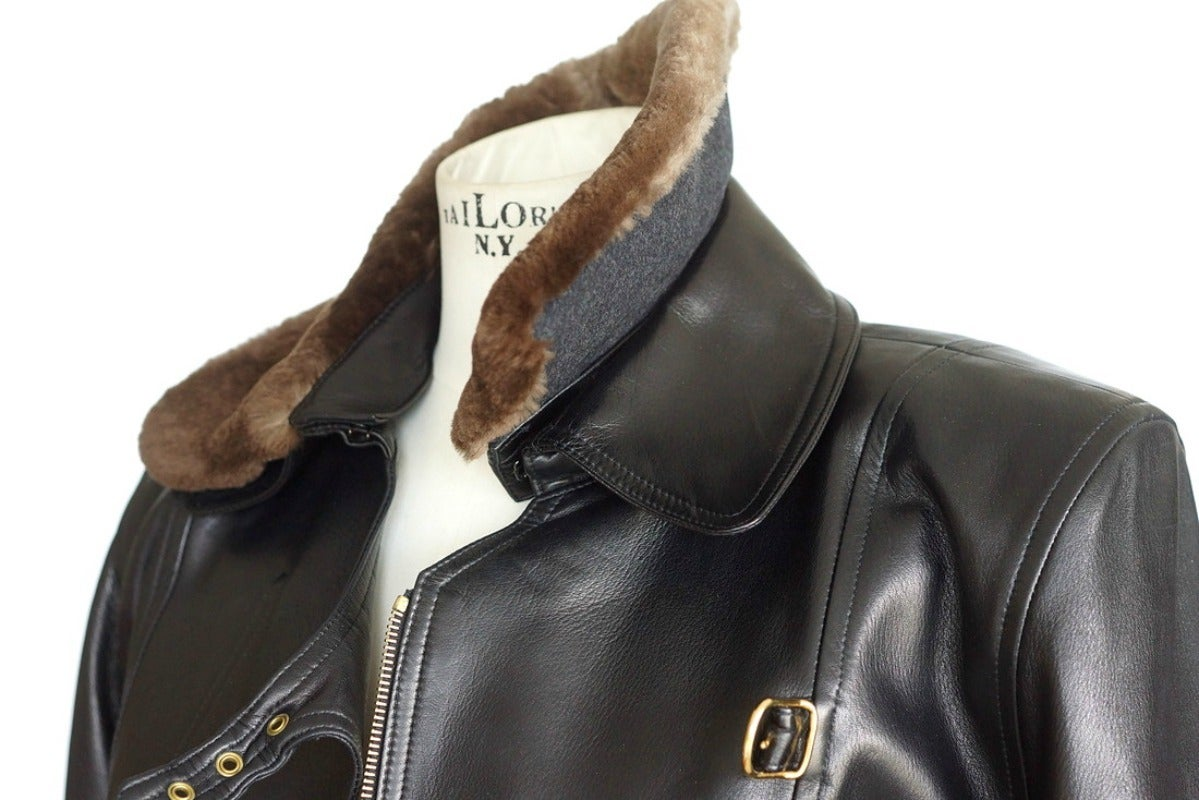 Hermes Vintage Leather Jacket With Detachable Fur Collar