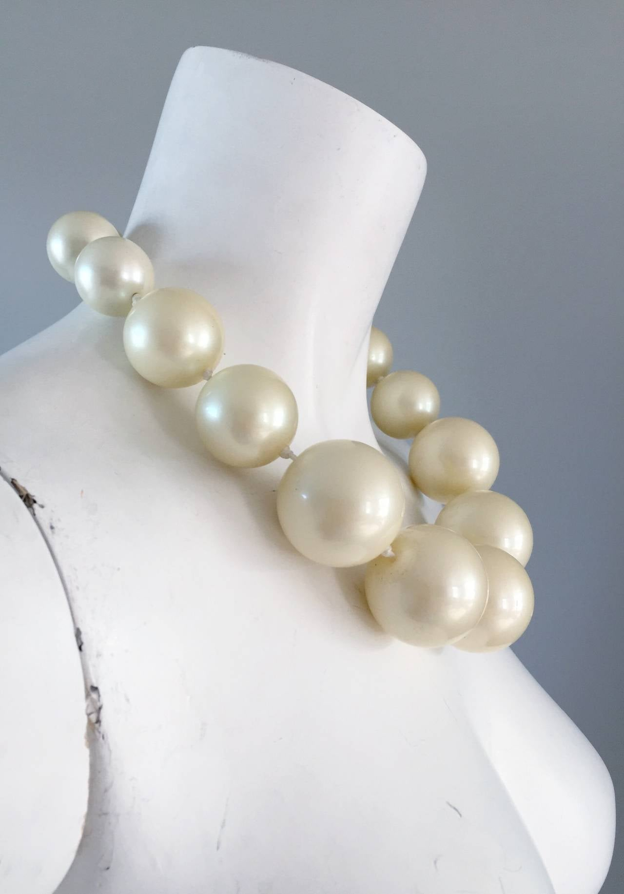 1960s 60s Vintage Oversized Jumbo Faux Pearl Necklace At