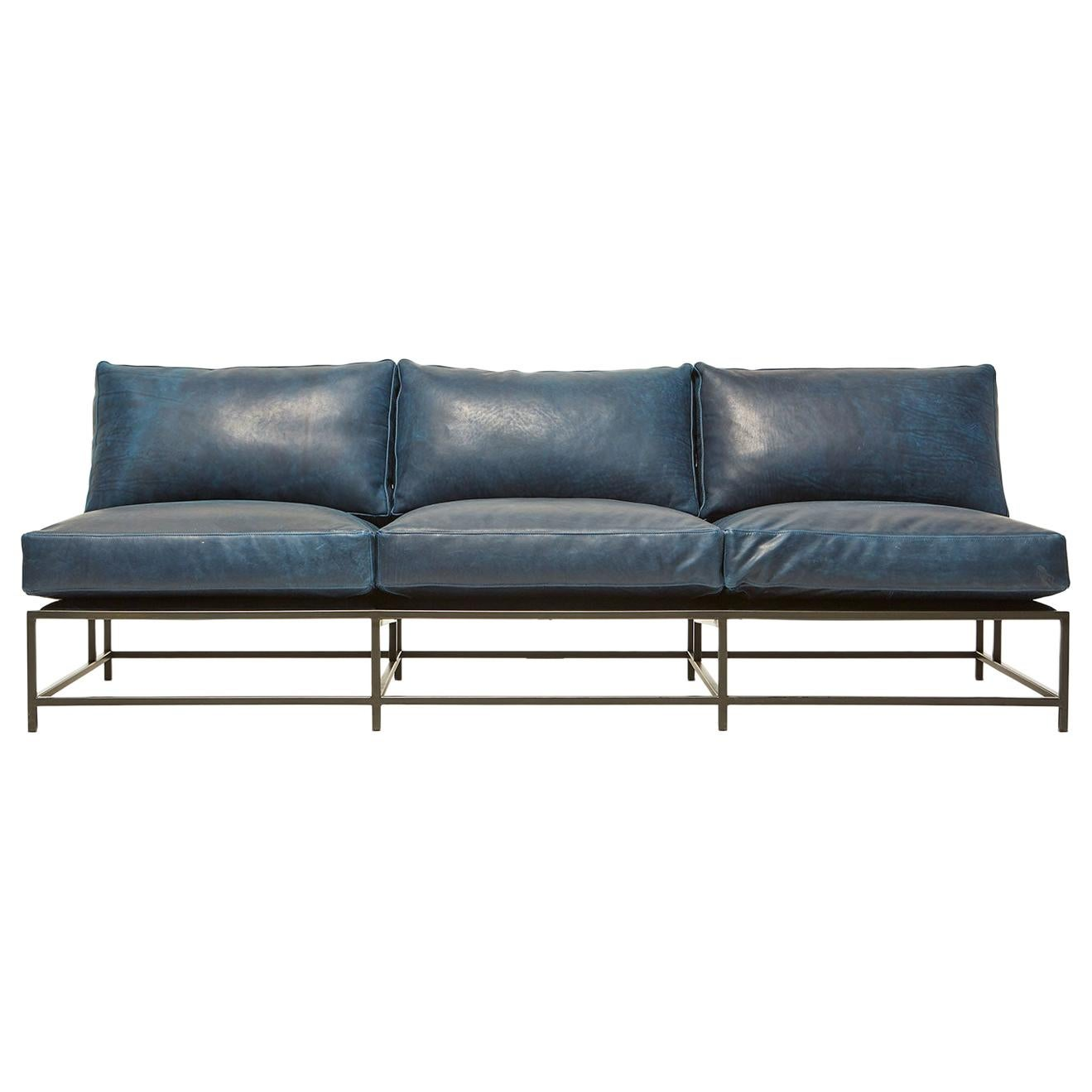 brentwood navy leather and blackened steel armless sofa