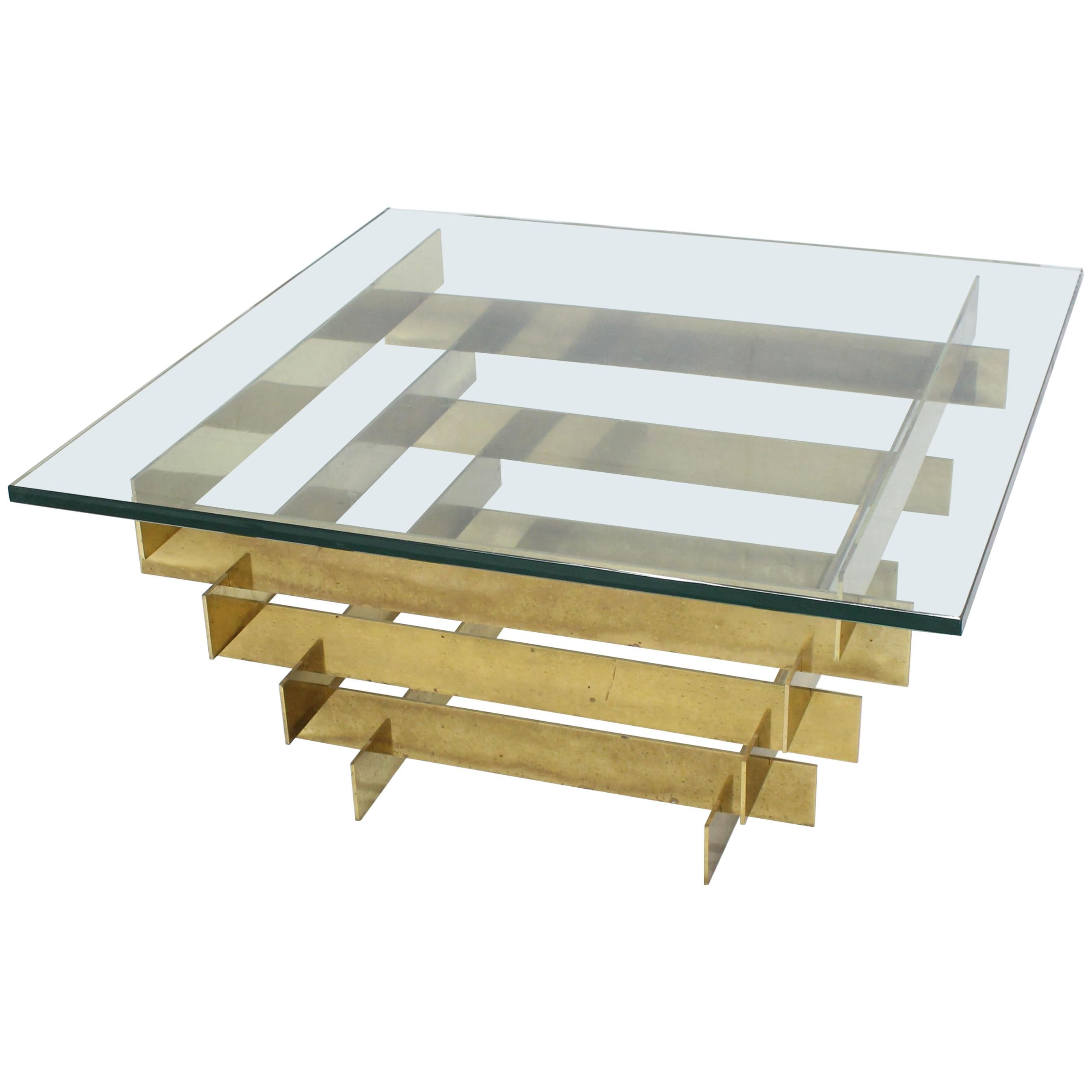 bronze base glass top mid century modern square coffee table