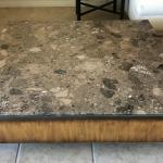 Brown Terrazzo Marble Bronze And Wood Modern Square Coffee Table For Sale At 1stdibs