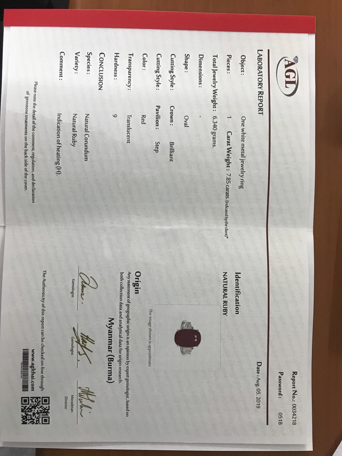 Certified 7 85 Carat Burma Ruby And Diamond Three Stone Engagement Ring