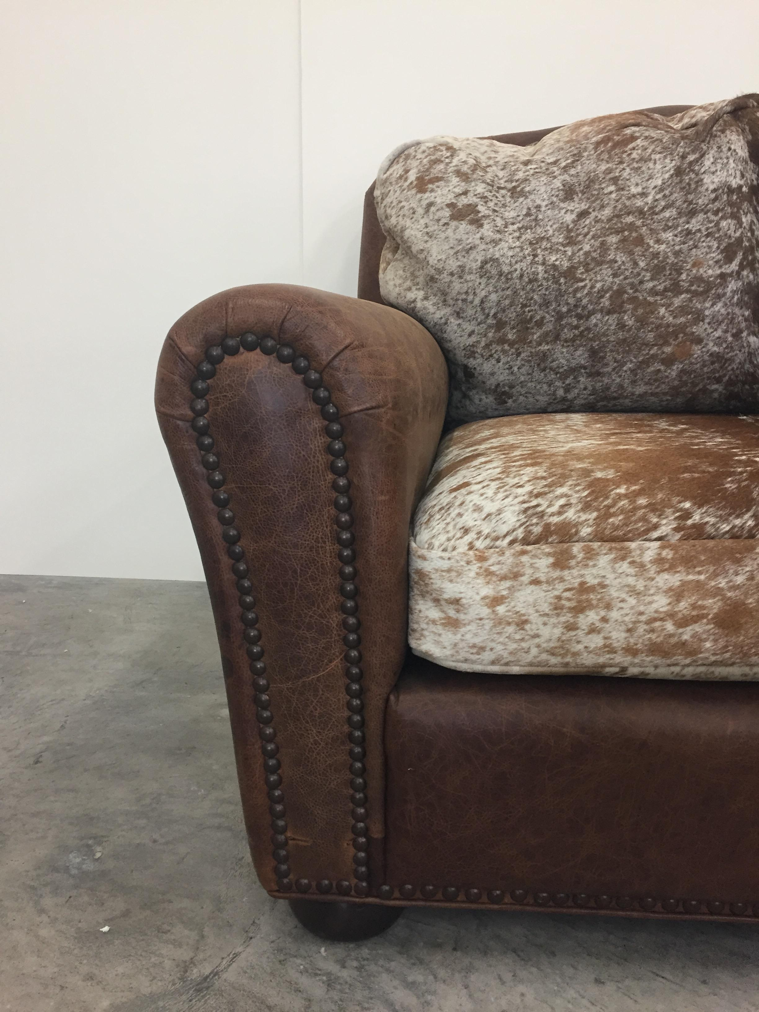 Comfy And Large Leather And Cowhide Club Chair At 1stdibs