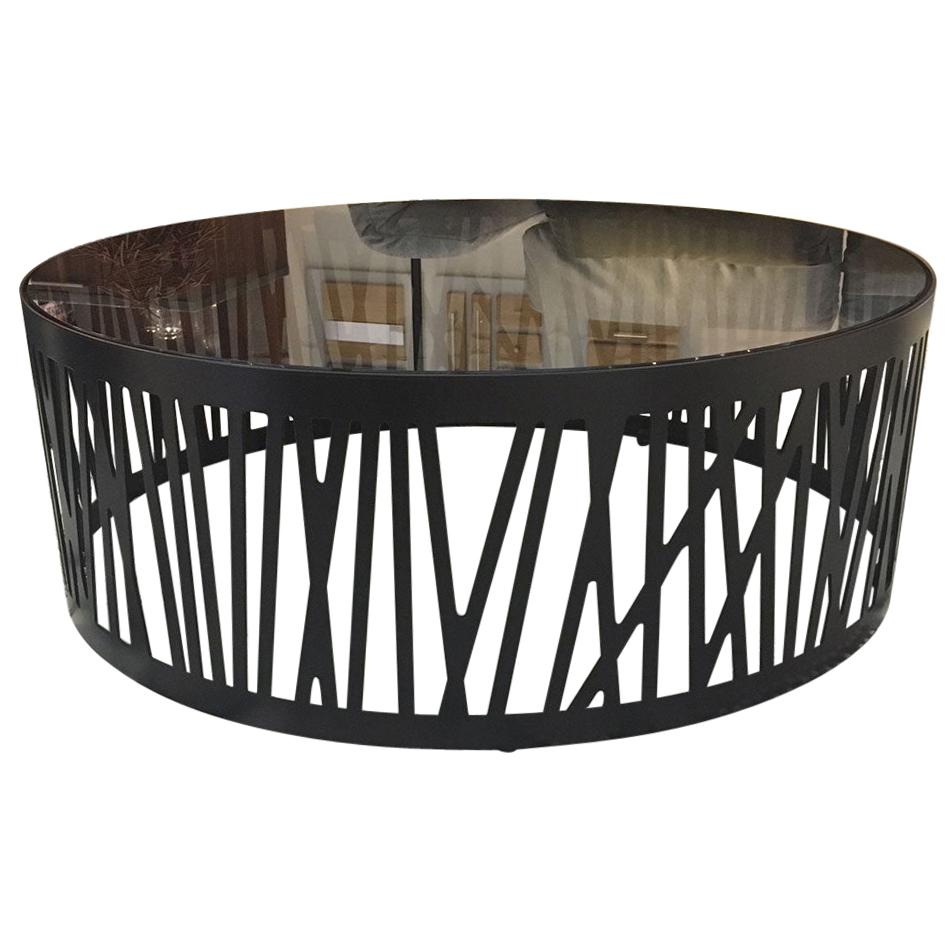 contemporary round coffee table with smoked black glass top metal under frame