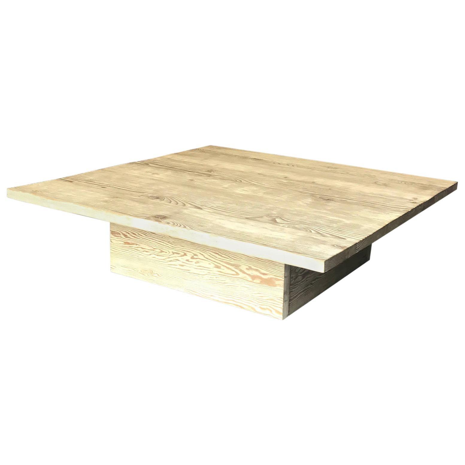 custom cerused reclaimed douglas fir wood coffee table