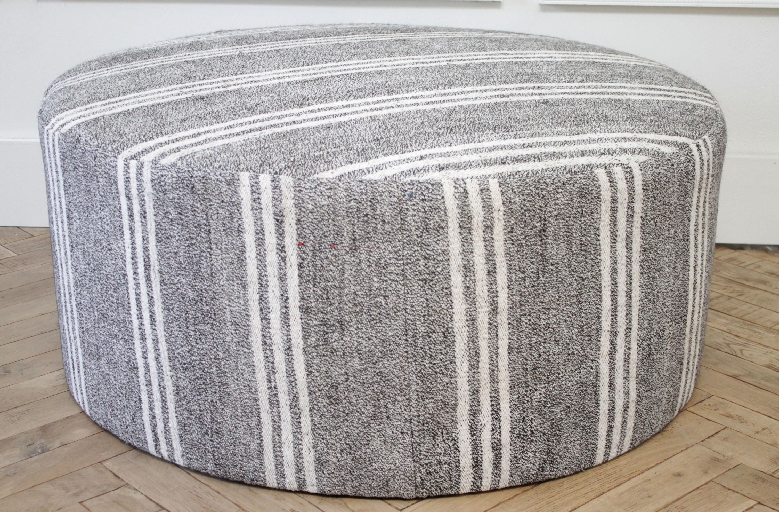 custom made vintage turkish rug round cocktail ottoman coffee table