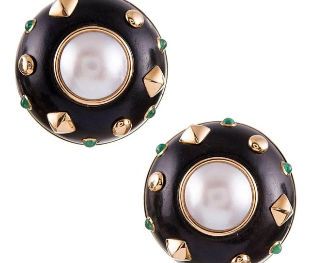 Ebony Pearl And Emerald Earrings Signed Trianon