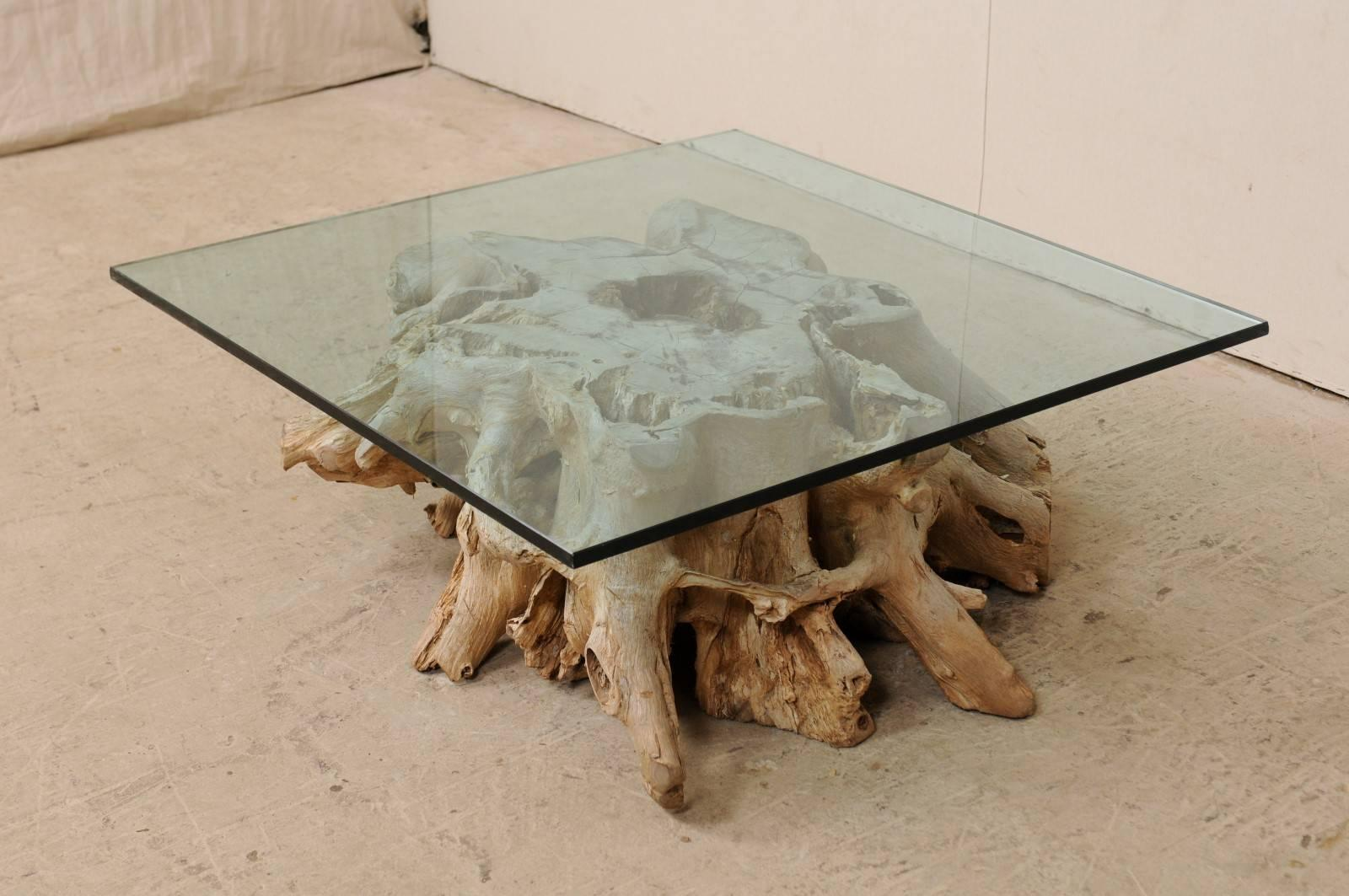 a custom glass top 19th c european natural wood tree stump base coffee table