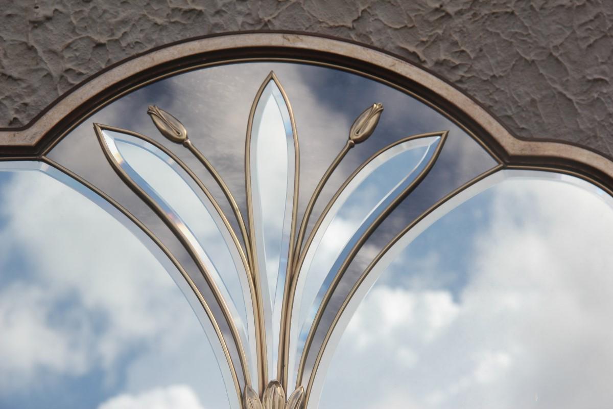 French Brass Flower Wall Mirror, Rectangular Silver Gold