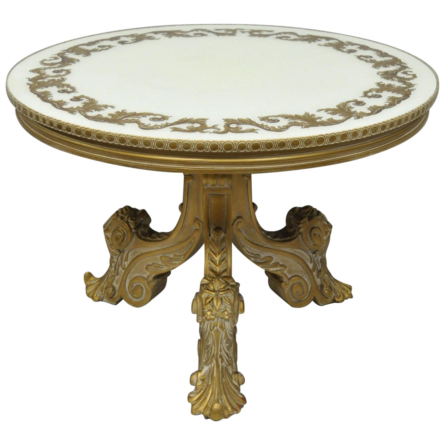 French Rococo Baroque Style Gold Italian Round Fancy Glass Top Tall Coffee Table For Sale At 1stdibs