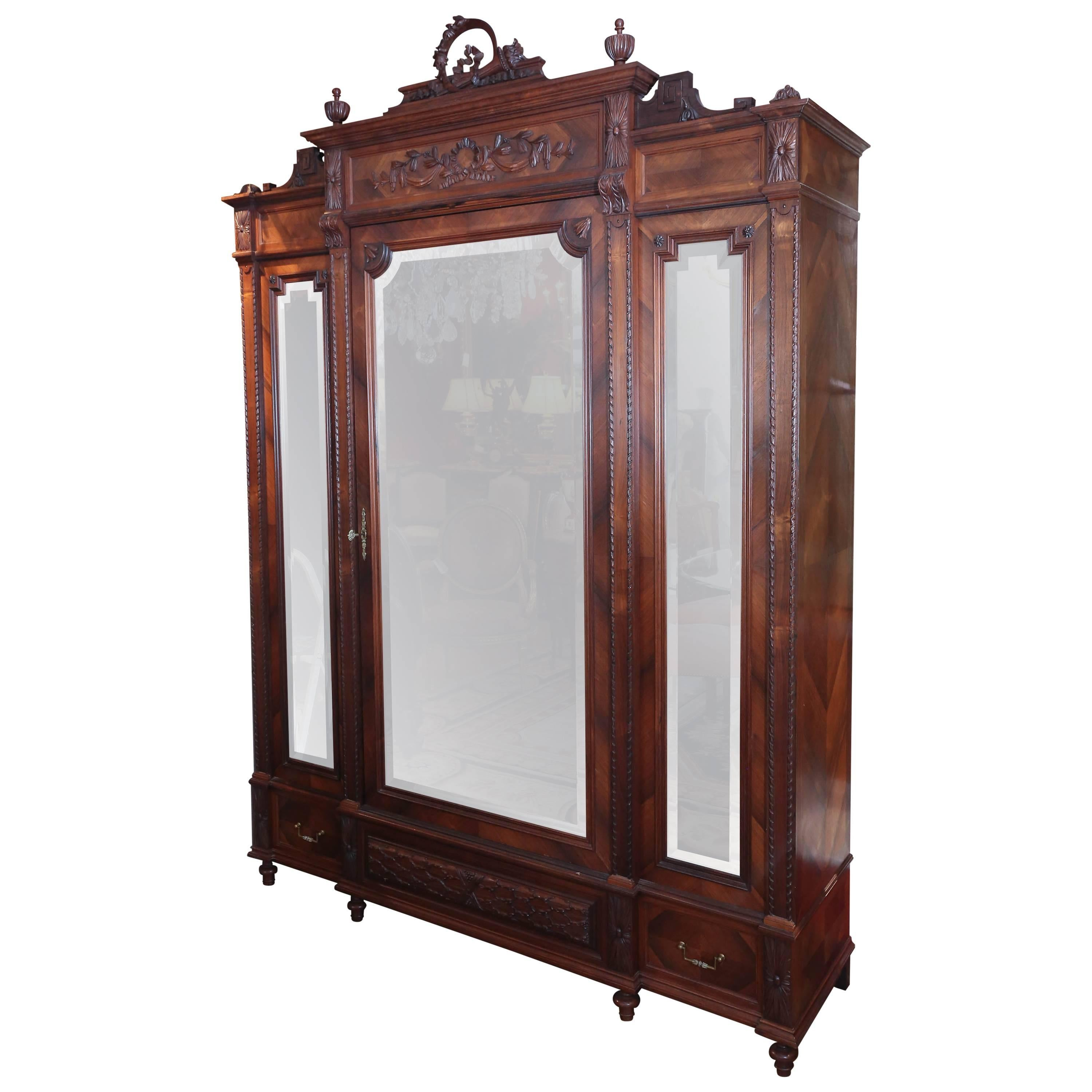french walnut louis xvi style armoire with three mirrors 19th century for sale