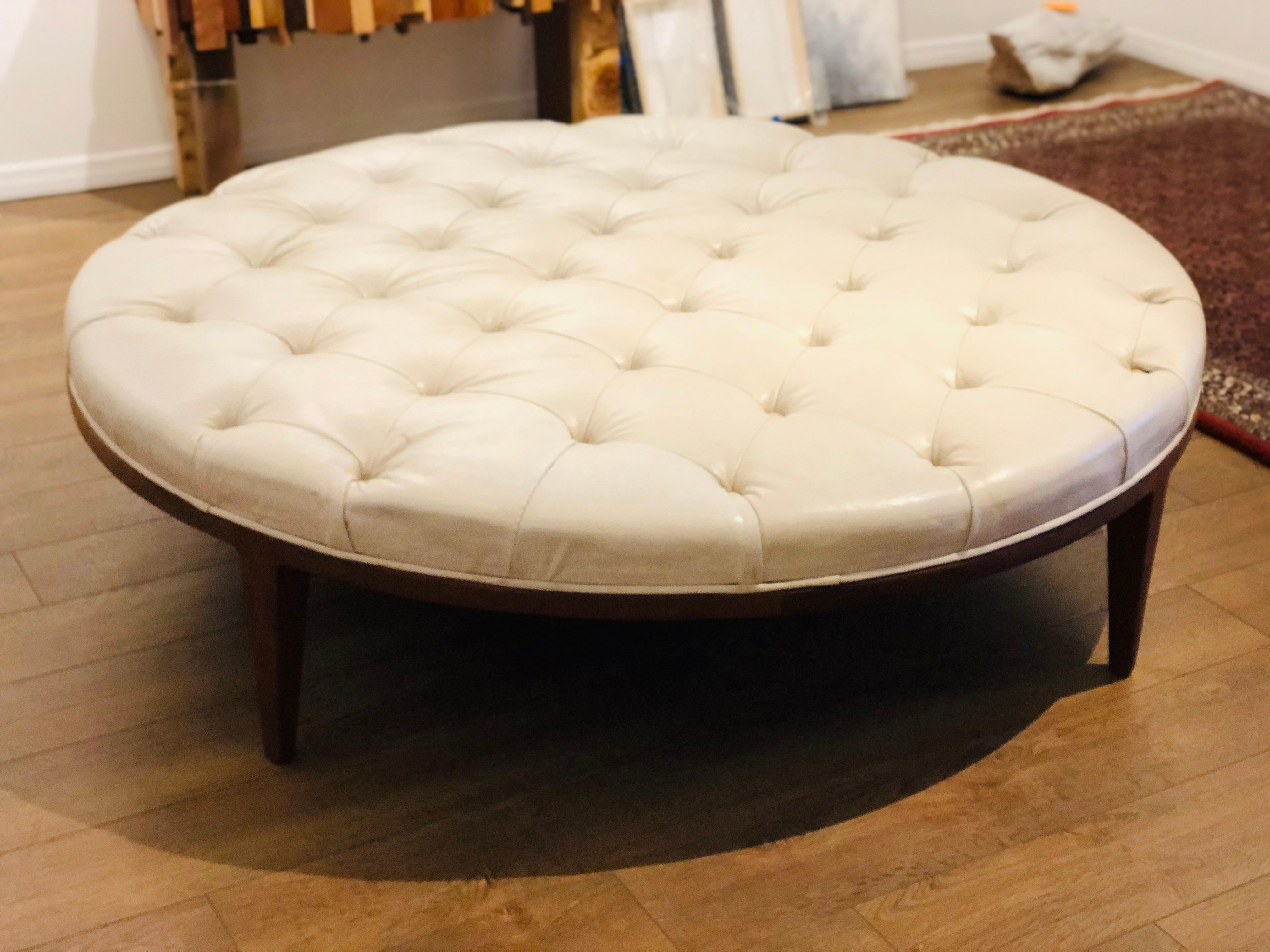 giant massive tufted midcentury walnut and leather ottoman coffee table