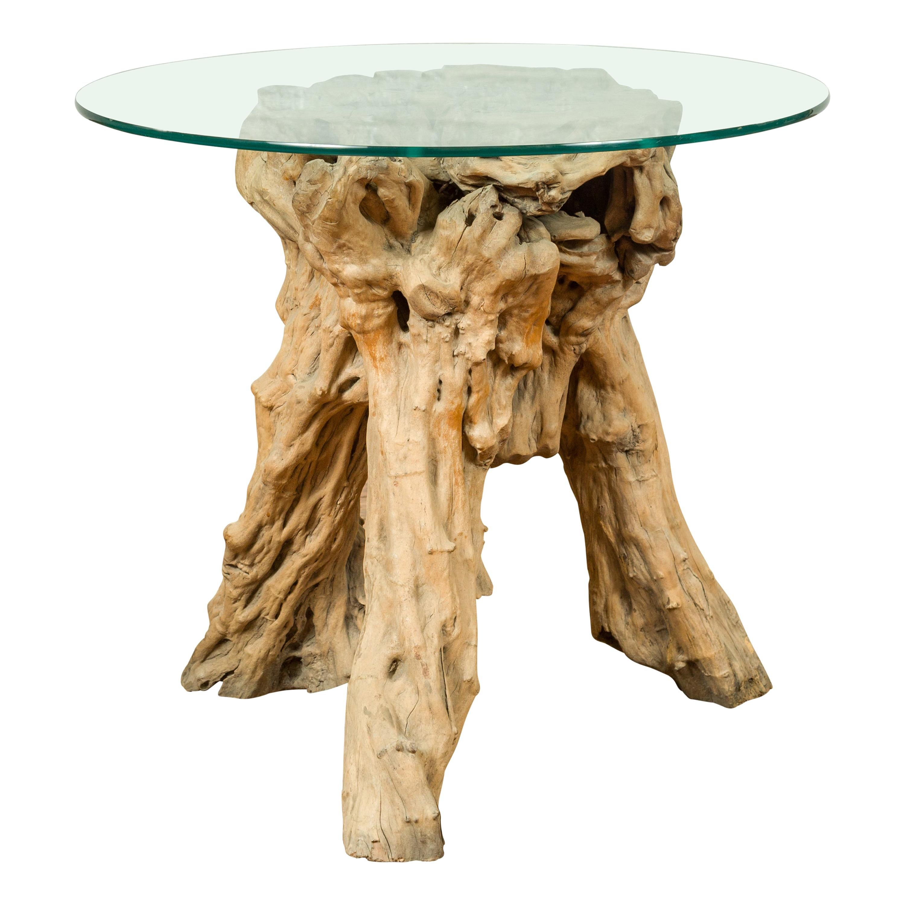 indonesian architectural tree root driftwood pedestal glass top not included