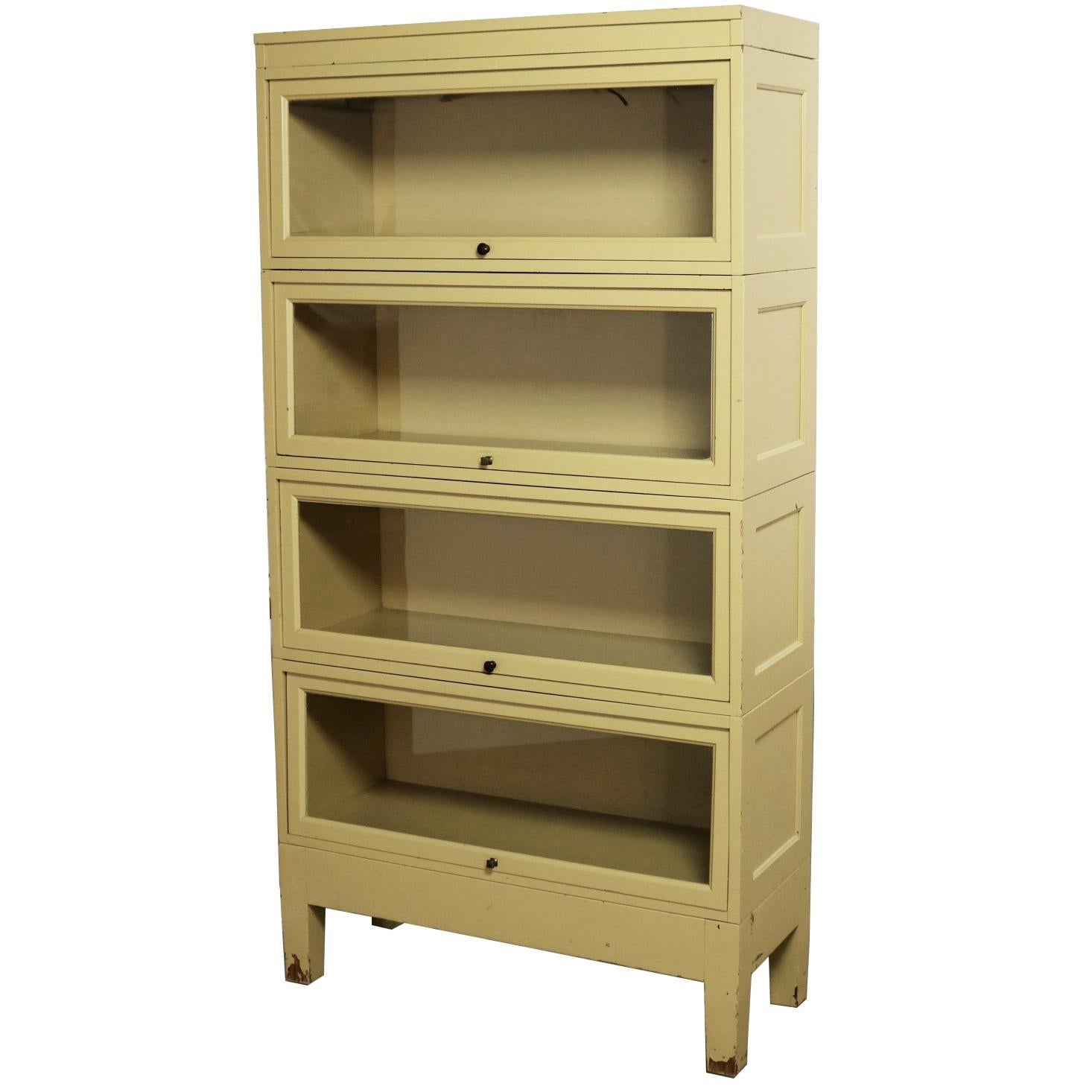 Industrial Barrister Stacking Bookcase Globe Wernicke Distressed Yellow Painted