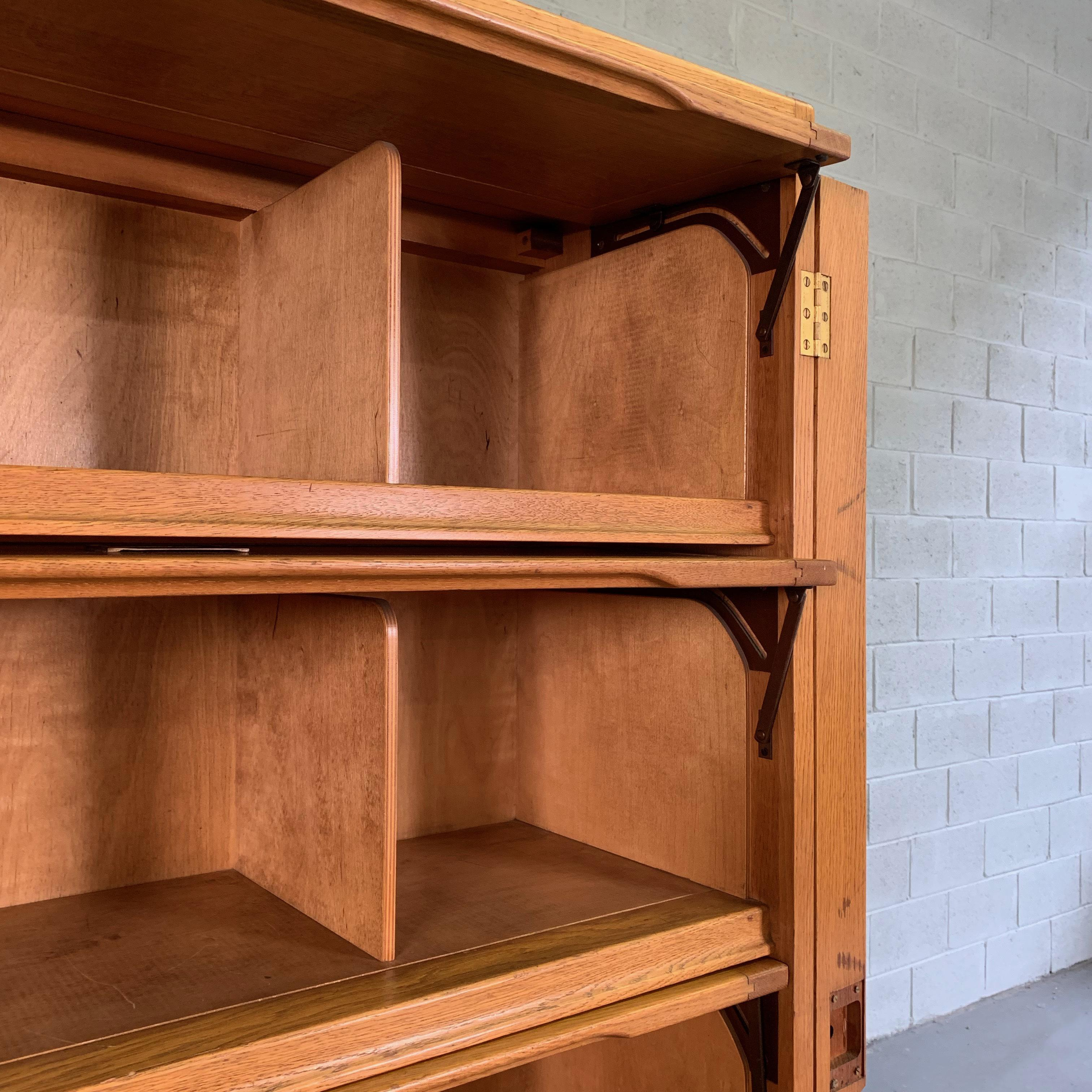 Industrial Oak Barrister Bookcase Document Cabinet