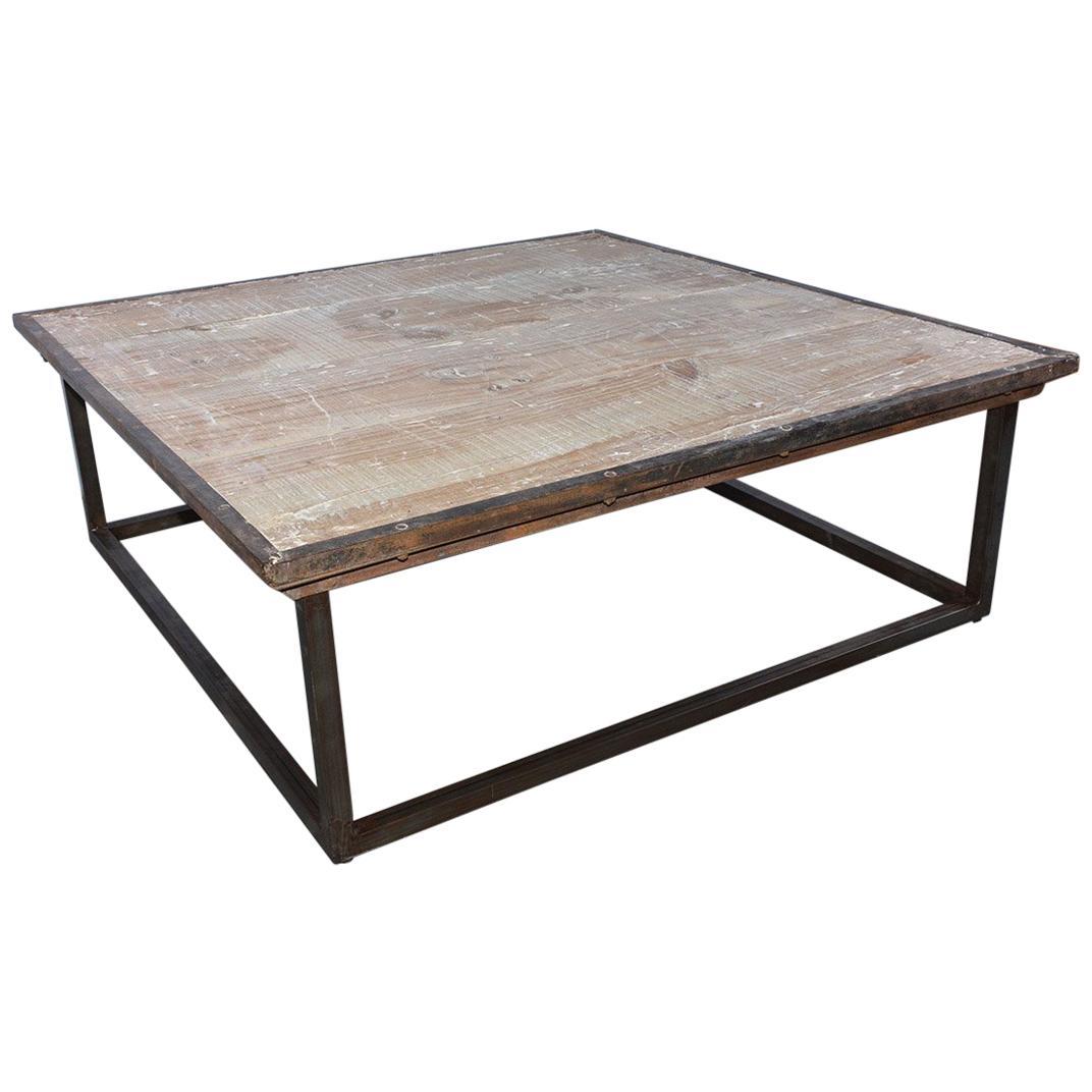 industrial square slatted wood top metal base coffee table