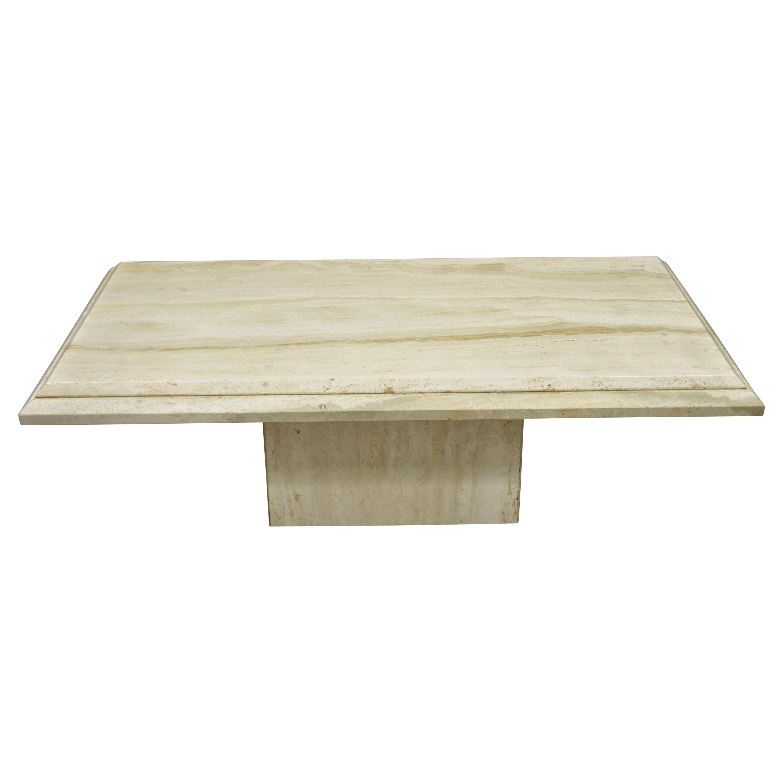 italian travertine stone rectangular modernist modern large coffee table