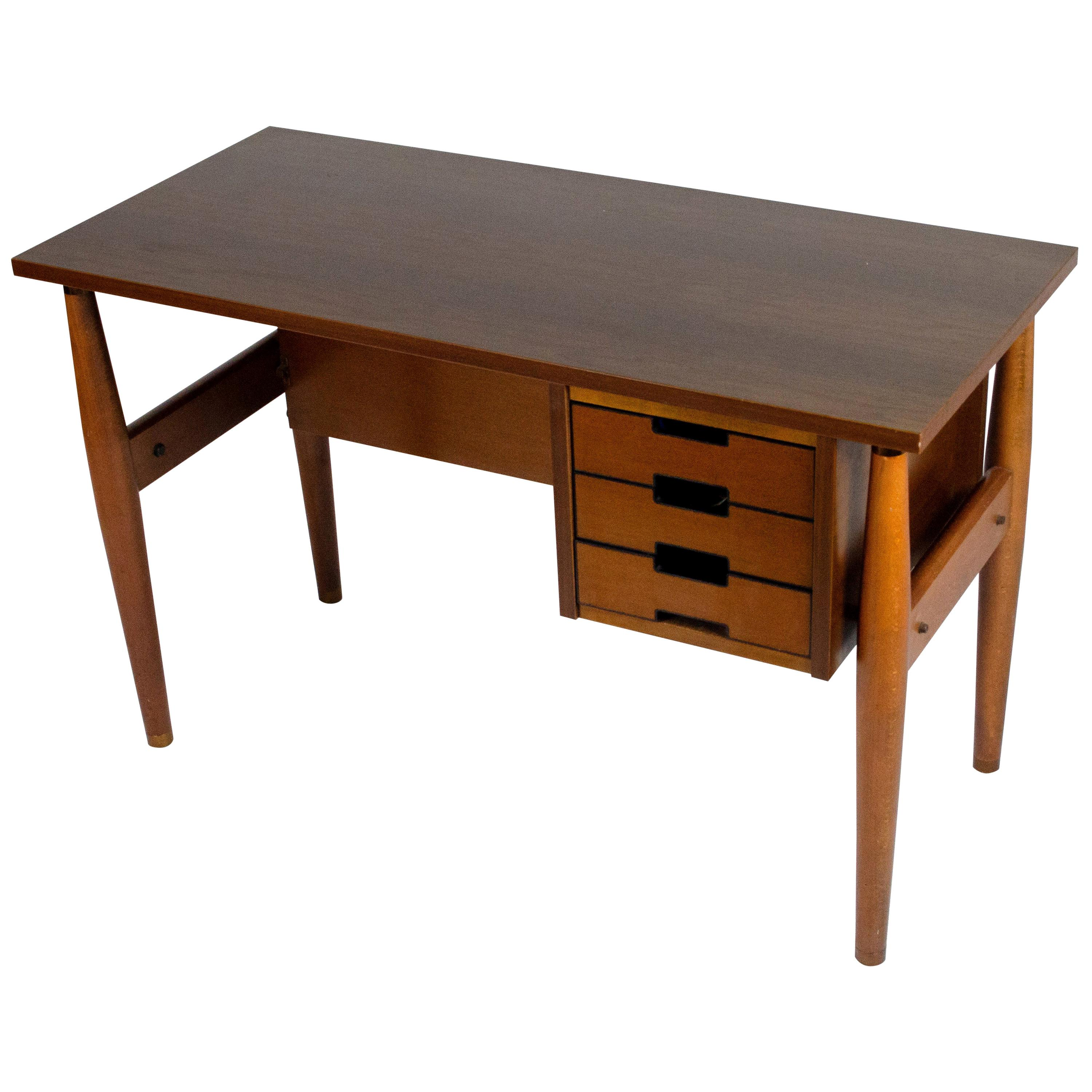Italian Wood Small Desk With Drawers By Schirolli Mantova 1960s At 1stdibs