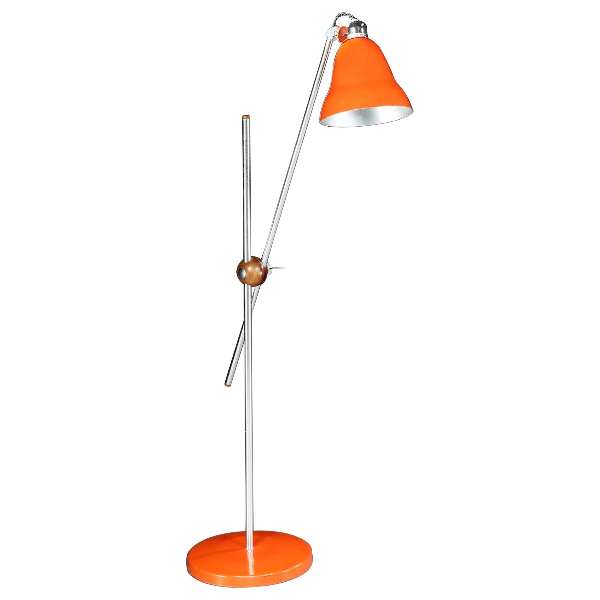 Lamp Floor Standing Reading 1960 Enameled Chrome Wood Original Shade Extending For Sale At 1stdibs