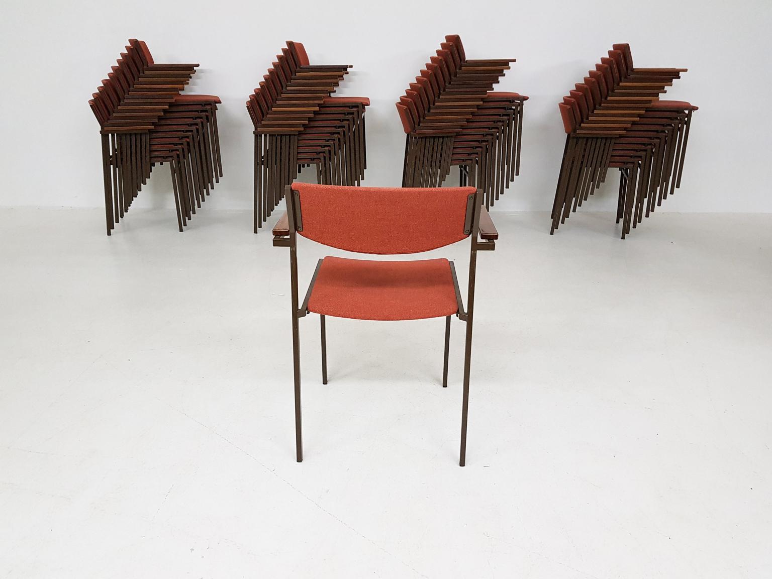 Large Set Of Dutch Midcentury Dining Or Stacking Chairs By Gijs Van Der Sluis