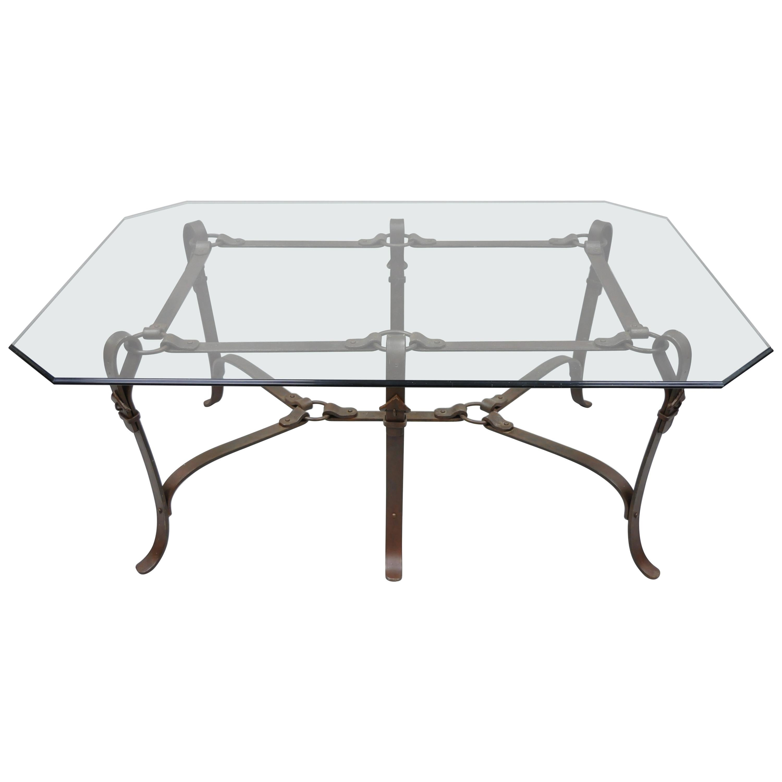 large wrought iron horsebit belt form glass top coffee table