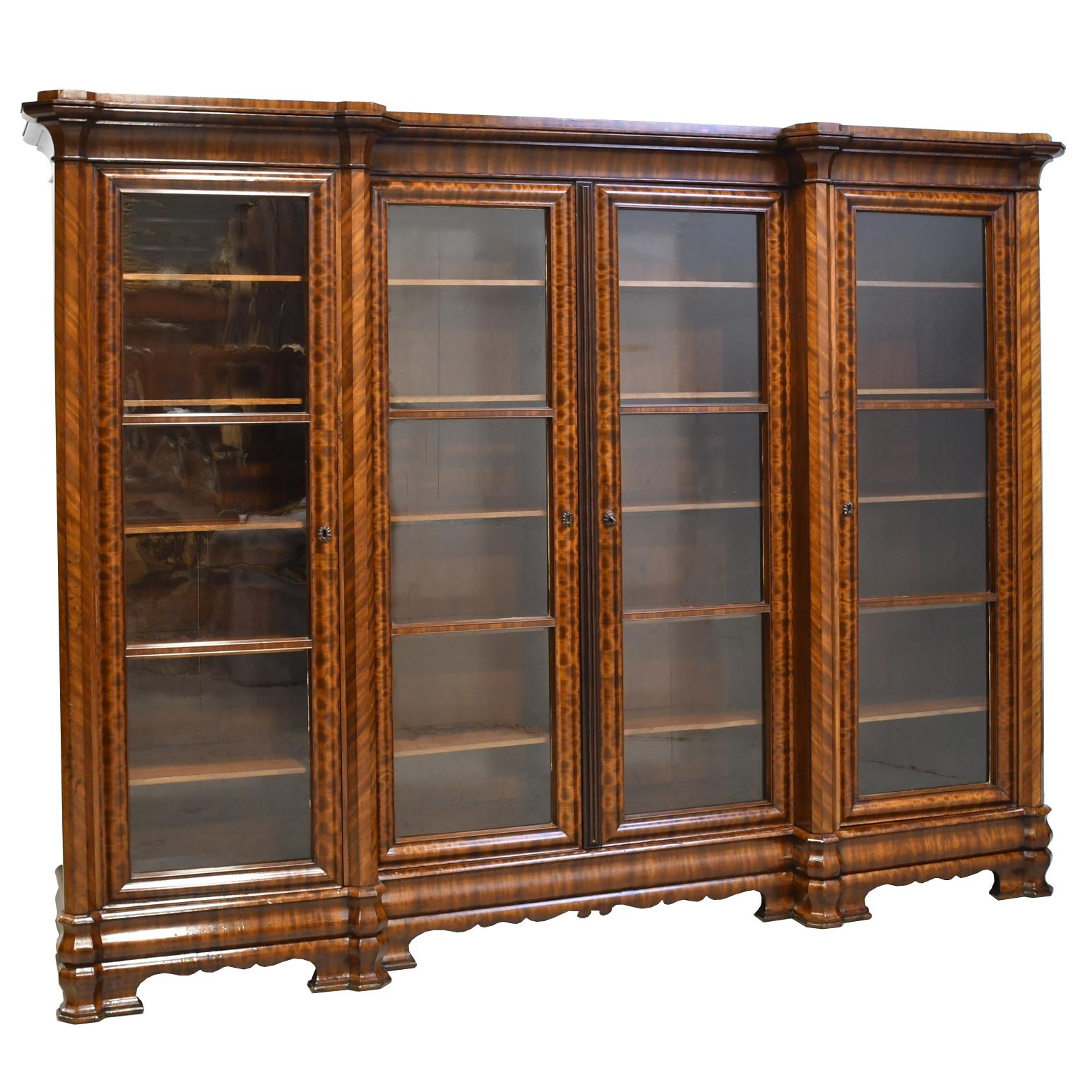 Long English William Iv Bookcase In Mahogany With Four Glass Doors Circa 1830