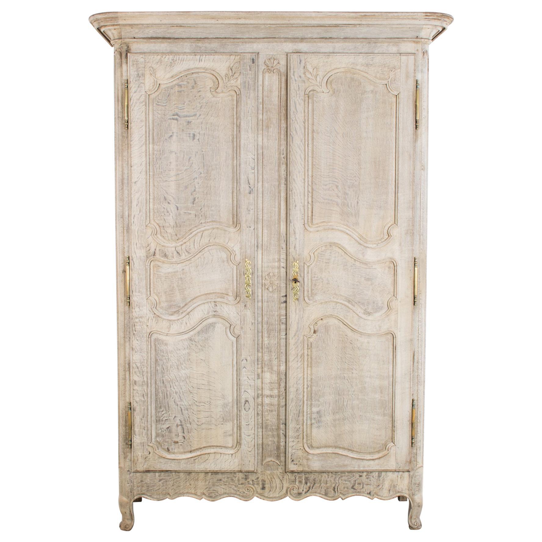 louis xv bleached oak armoire