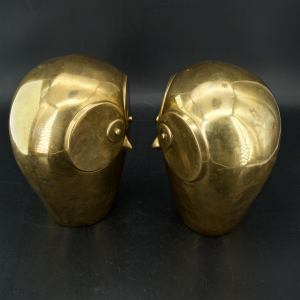 Massive Dolbi Cashier Brass Owl Bookends Sculptures Mid Century Like James Mont At 1stdibs