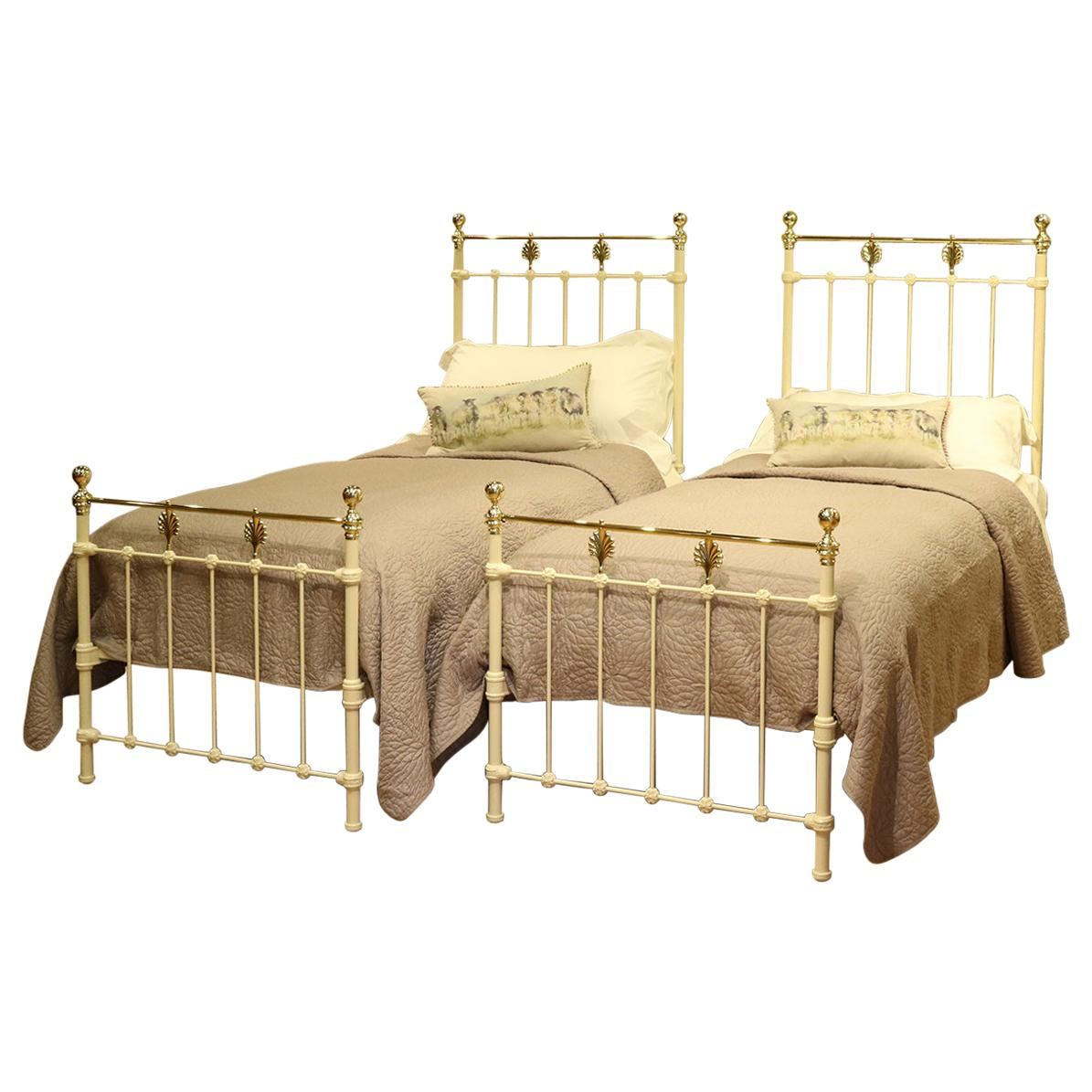 Matching Pair Of Twin Brass And Iron Beds Mps34 At 1stdibs