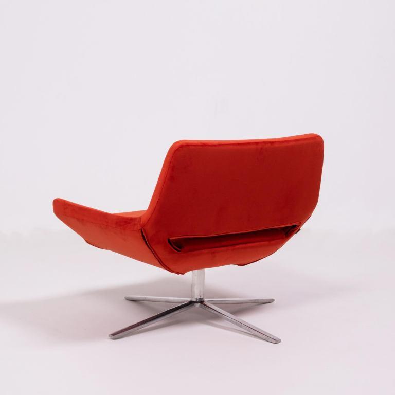 Metropolitan Orange Velvet Armchair By Jeffrey Bernett For Bb Italia