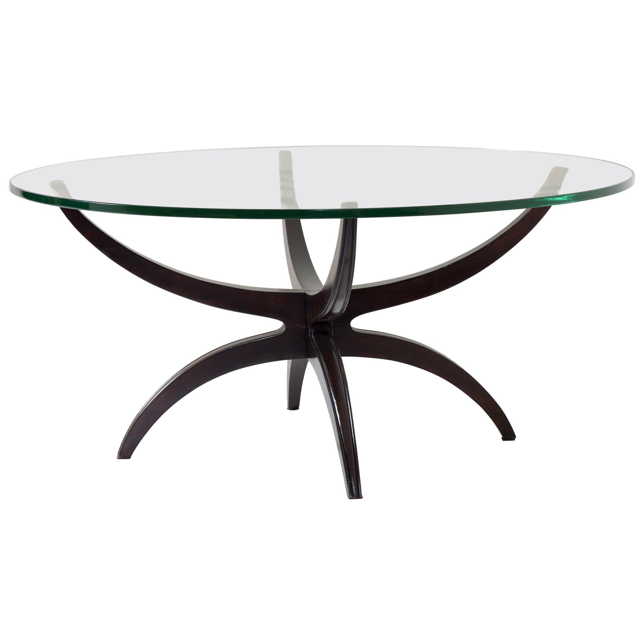 midcentury italian round coffee table thick bevelled glass top 1950