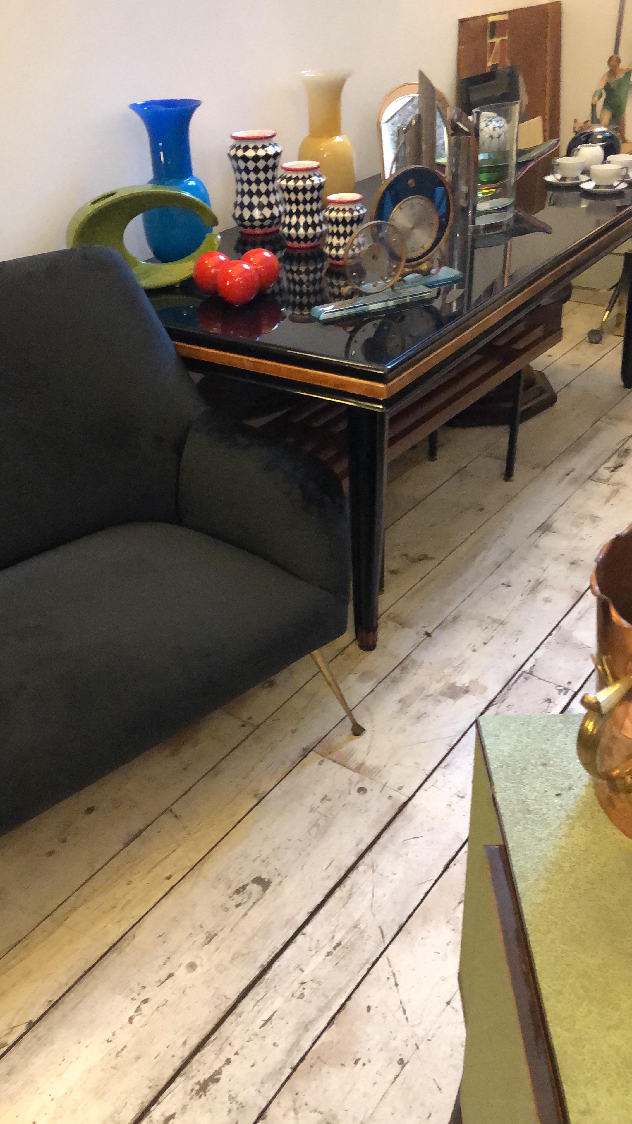 Mid Century Modern Black Velvet And Brass Italian Living Room Circa 1950