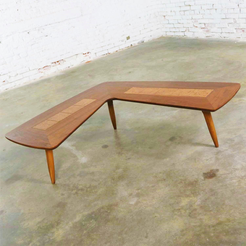 mid century modern lane boomerang coffee table with inlaid burl style 1929