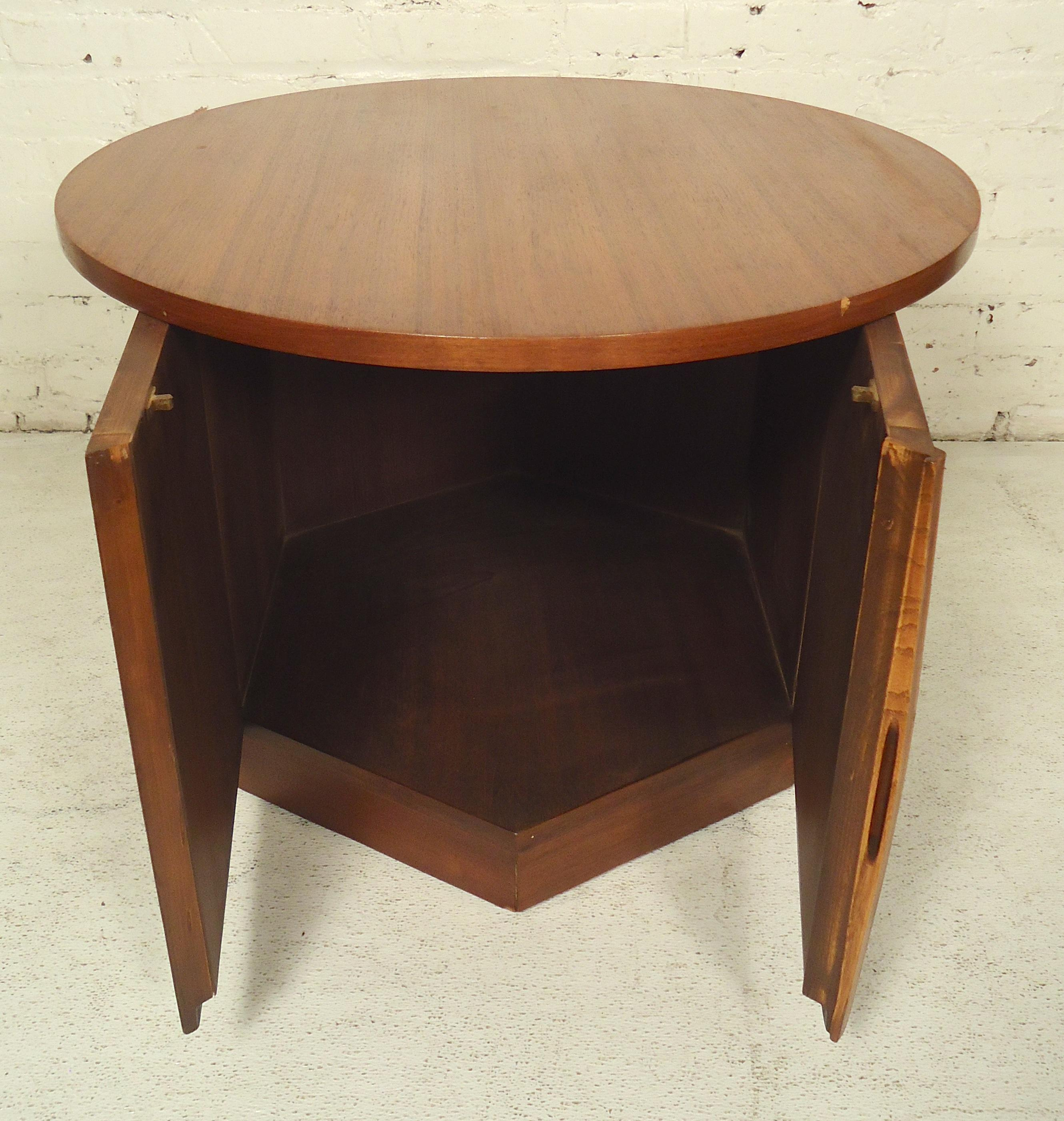 midcentury round side table with storage