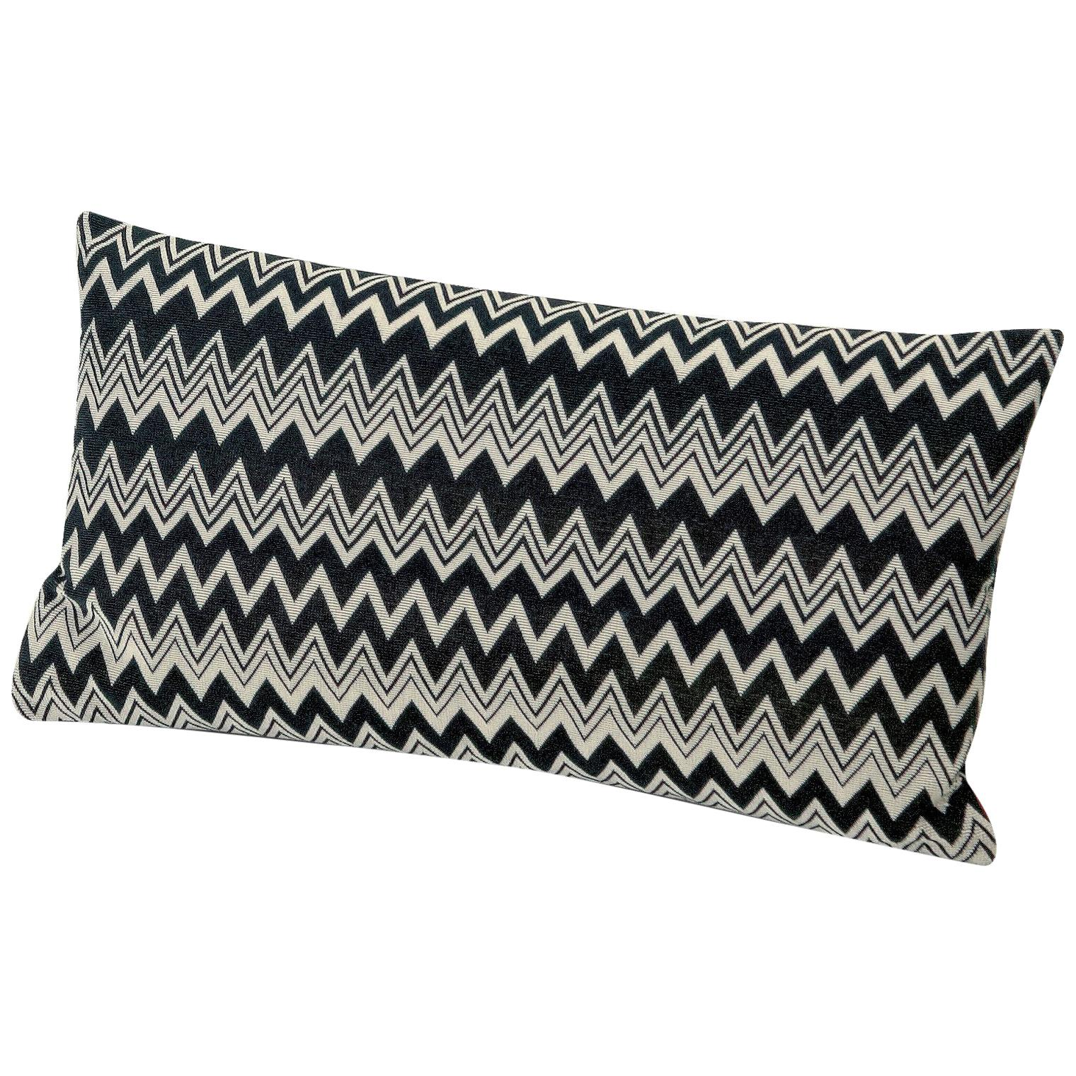 missoni home orvault cushion in black and white chevron print